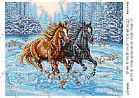 """DANA Схема для вишивки бісером А3 формату """"Коні в снігу"""""""