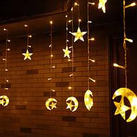 Рождество 6M 168 Светодиодный String Star Moon Shape Curtain Light 220V Празднование праздника домашнего декора Свадебное