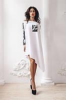 """Стильное ассиметричное платье """"Ruby"""" с вставками из двусторонней пайетки (2 цвета)"""