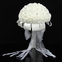 Свадьба ручной работы цветок розы свадебный букет кристалл жемчуг шелк невесты атласные
