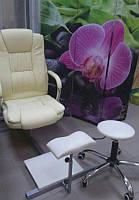 Подставка для ног с креслом YRE PPSK-02, светло бежевая, обивка из кожзама, Подставка для педикюра, Подставка под ногу, Педикюрная подставка