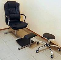 Подставка для ног с креслом YRE PPSK-00, черная, обивка из кожзама, Подставка для педикюра, Подставка под ногу, Педикюрная подставка