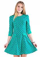 Платье бирюзовое расклешенное
