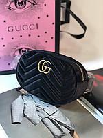 Стильная сумочка на пояс GucciMarmont belt bag бархат (реплика), фото 1