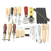 24pcs кожа ремесло пробивные инструментов шитья вручную шить резьба работы седло нарезания