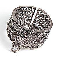 [5.5см] Браслет обруч, женский, с крупным центральным элементом, украшен декоративными камнями
