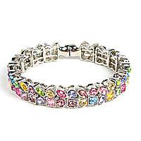[5.5см] Браслет женский, светлый, гибкий, украшен цветными камнями различной формы