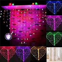 128 LED день свадьбы рождественские декорации в форме сердца фея строка занавес свет Валентина