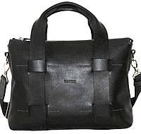 Стильная мужская кожаная сумка черная