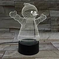 Новогодний 3D стерео снеговик LED сенсорный ночник лампа