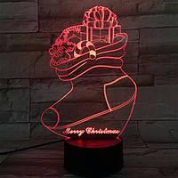 Рождественский чулок 3d LED огни цветной сенсорный свет ночи USB подарка таблицы визуальные огни