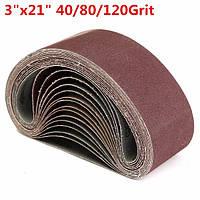 15pcs 75x535mm шлифовальной ленты оксид алюминия 40/80/120 крупки Sander абразивные ленты шлифовальные
