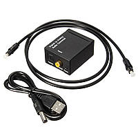 Цифровой оптический Toslink коаксиальный кабель коаксиальный в аналоговый аудио конвертер адаптер RCA L / R