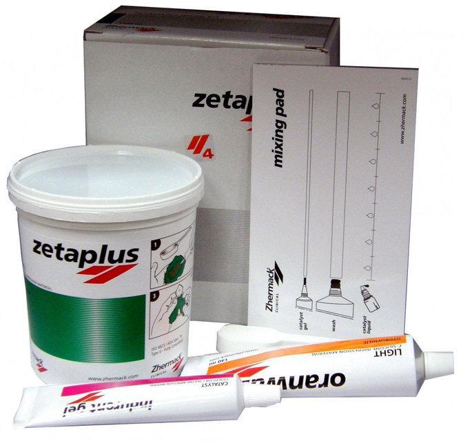 Zetaplus L Intro Kit. Оттискная масса, С-силикон. Набор: Zetaplus L 1,53 кг (900 мл) + Oranwash L - 140 мл NaviStom