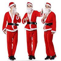 Мужская одежда производительности Рождество золото бархат костюм Санта-Клауса шляпа борода одежда брюки ремень