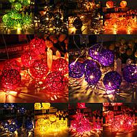 20 LED ротанг мяч свет шнура дома сад фея красочный лампа свадьба Xmas декор