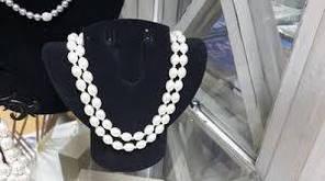 Ожерелье двойное из белого жемчуга 45 см