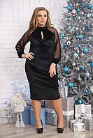 Женское велюровое платье миди Парфюм цвет черный / размер 48-72 батальные размеры