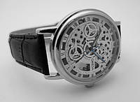 Мужские часы в стиле Omega - skeleton, механика с автозаводом, серебристый, фото 1