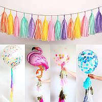 20шт бумажные ткани гирлянд воздушный шар свадьба кисточки овсянка баннер декора