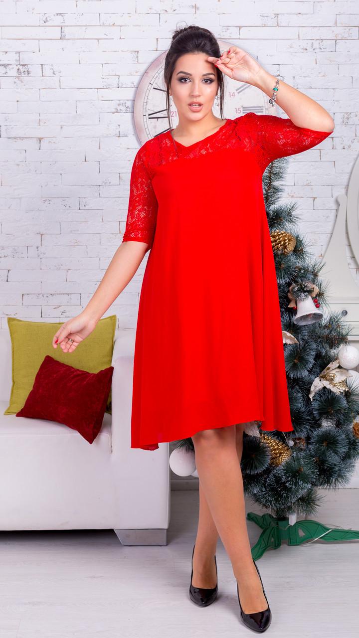 Женское платье гипюр + шифон (46-60) 8138