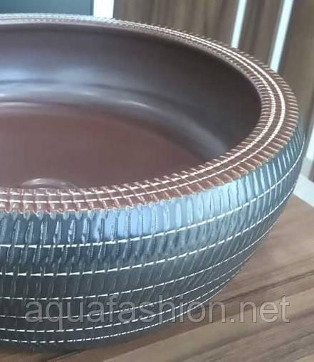 Коричневий круглий умивальник чаша 42 см Newarc 5062