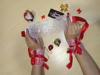 Эротический новогодний набор наручники и кружевная маска