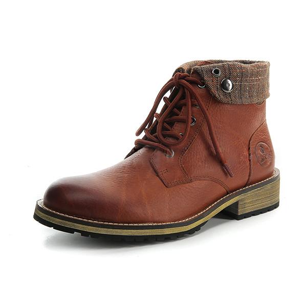 a30b83926 Коричневые вскользь кожаные сапоги короткие сапоги ботинки зимы теплые  мотоцикл верхом 39-45 для рАРО