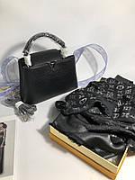 Шаль Louis Vuitton MONOGRAM SHINE черная (реплика), фото 1
