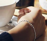 Матовый глянцевый - серебряный браслет 925 пробы