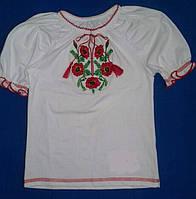 Вышиванка для девочки от 2-х до 9 лет с коротким рукавом