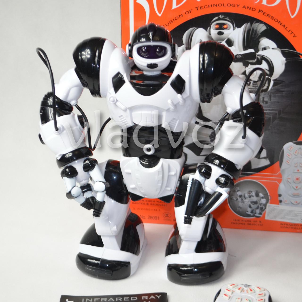 Робот на пульте управления радиоуправляемая игрушка Robowisdom белый с черным
