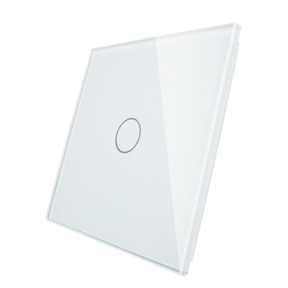 Лицевая панель для сенсорного выключателя Livolo 1 канал, цвет белый, материал стекло (VL-C7-C1-11), фото 1