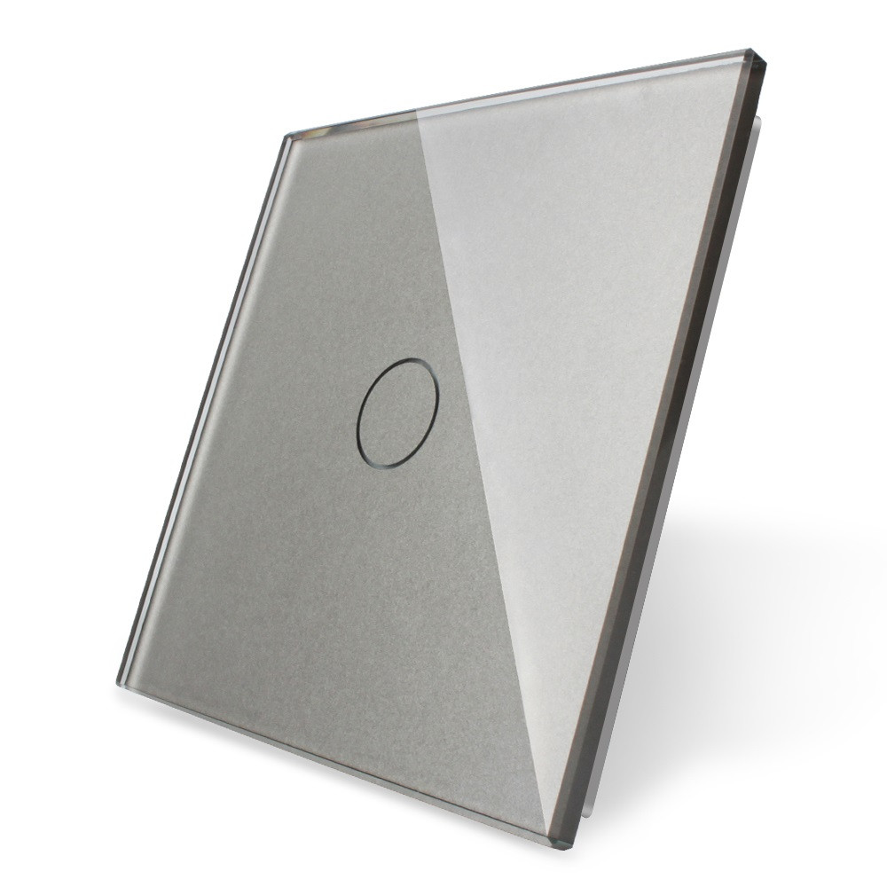 Лицевая панель для сенсорного выключателя Livolo 1 канал, цвет серый, материал стекло (VL-C7-C1-15), фото 1