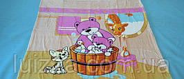 Микрофибровая простынь, покрывало детское Мишка в баньке !!! - голубой
