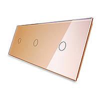 Лицевая панель для сенсорного выключателя Livolo 3 канала, цвет золото, стекло (VL-C7-C1/C1/C1-13), фото 1