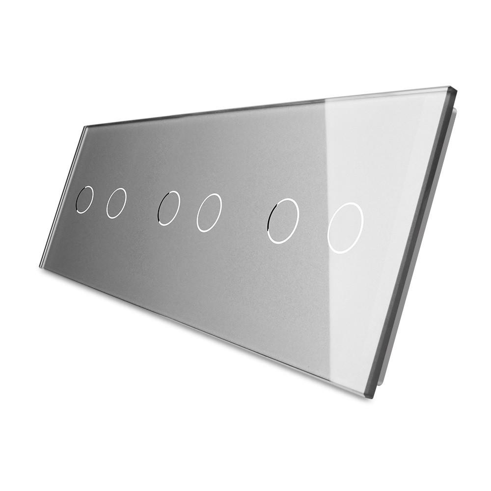Лицевая панель для сенсорного выключателя Livolo 6 каналов, цвет серый, стекло (VL-C7-C2/C2/C2-15), фото 1