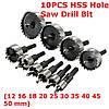 10 штук 12-50mm HSS отверстия резец сверло установить металлический инструмент резак дерева сплав