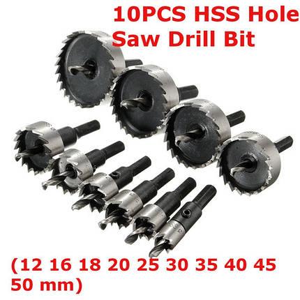 10 штук 12-50mm HSS отверстия резец сверло установить металлический инструмент резак дерева сплав, фото 2