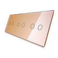 Лицевая панель для сенсорного выключателя Livolo 6 каналов, цвет золото, стекло (VL-C7-C2/C2/C2-13), фото 1