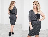 Платье трикотажное, сетка с напылением,  размер 48-54