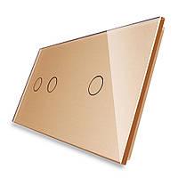 Сенсорная панель выключателя Livolo 3 канала (2-1) золото стекло (VL-C7-C2/C1-13), фото 1