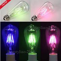 E27 ретро Edison глобус луковицы 6w винт LED глыбы лампочки RGB красочный свет лампы с низким энергопотреблением AC220V