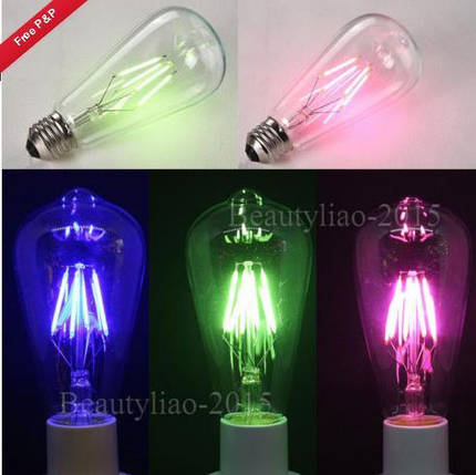 E27 ретро Edison глобус луковицы 6w винт LED глыбы лампочки RGB красочный свет лампы с низким энергопотреблением AC220V, фото 2