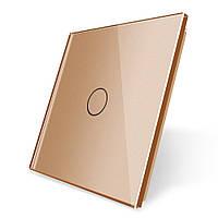 Лицевая панель для сенсорного выключателя Livolo 1 канал, цвет золото, материал стекло (VL-C7-C1-13)