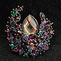 [35/30 мм] Оригинальная брошь, усыпанная разноцветными камнями, украшенная крупным прозрачным камнем капли воды