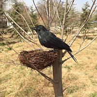 Ворона декоративная с гнездом, 18 см