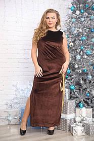 Женское платье длинное макси Ариадна цвет шоколад / размер 48-72 большие размеры