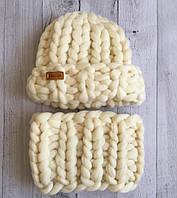 Комплект шапка+снуд 100% шерсть мериноса (Белый)