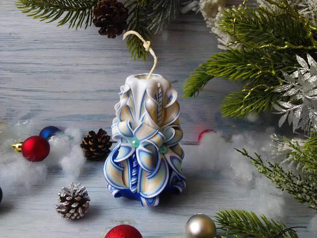 Резная свеча голубая без декора, фото 2